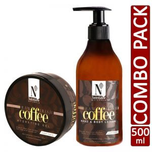 NutriGlow Natural's Combo of 2 Raw Irish Coffee Hydrating Gel (200 gm) and Hand & Body Lotion (300 ml)
